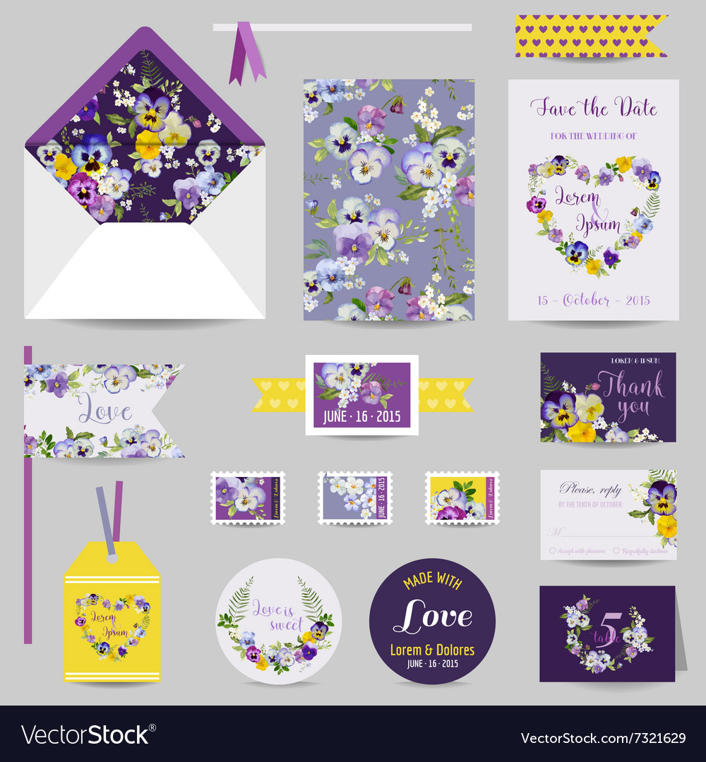 Set of wedding stationary  invitation card vector