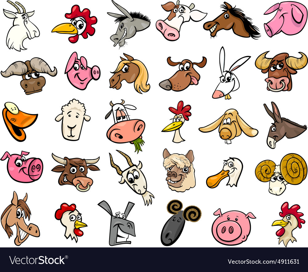 Farm animals cartoon heads big set vector