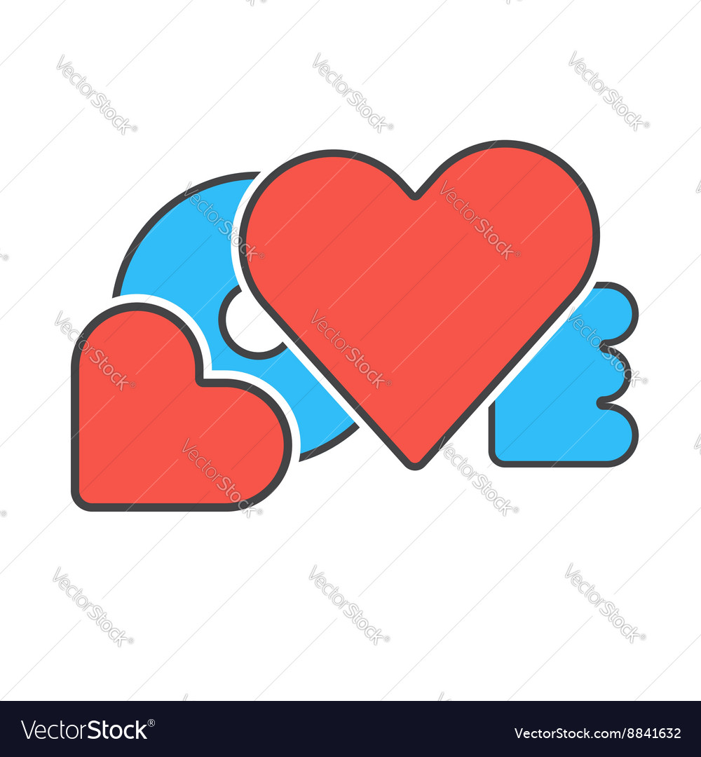Red blue word love vector