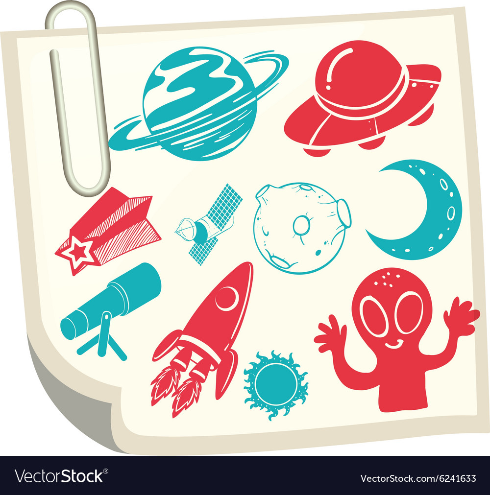 Science symbols on white paper vector