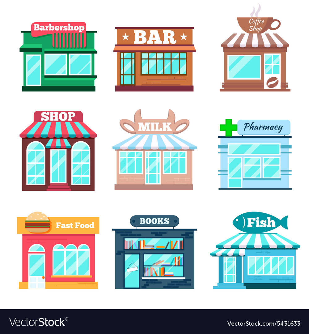 Store and shop buildings flat icons set vector