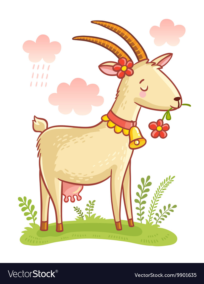 Cute farm animal goat vector