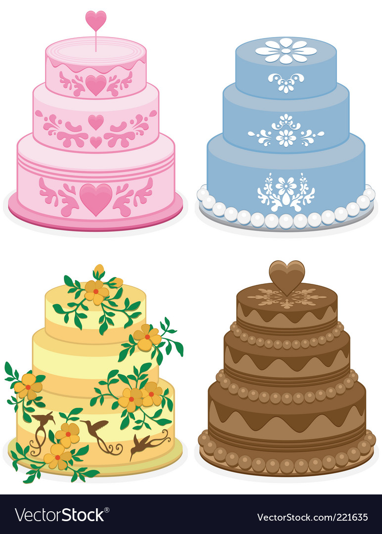 Fancy cakes vector