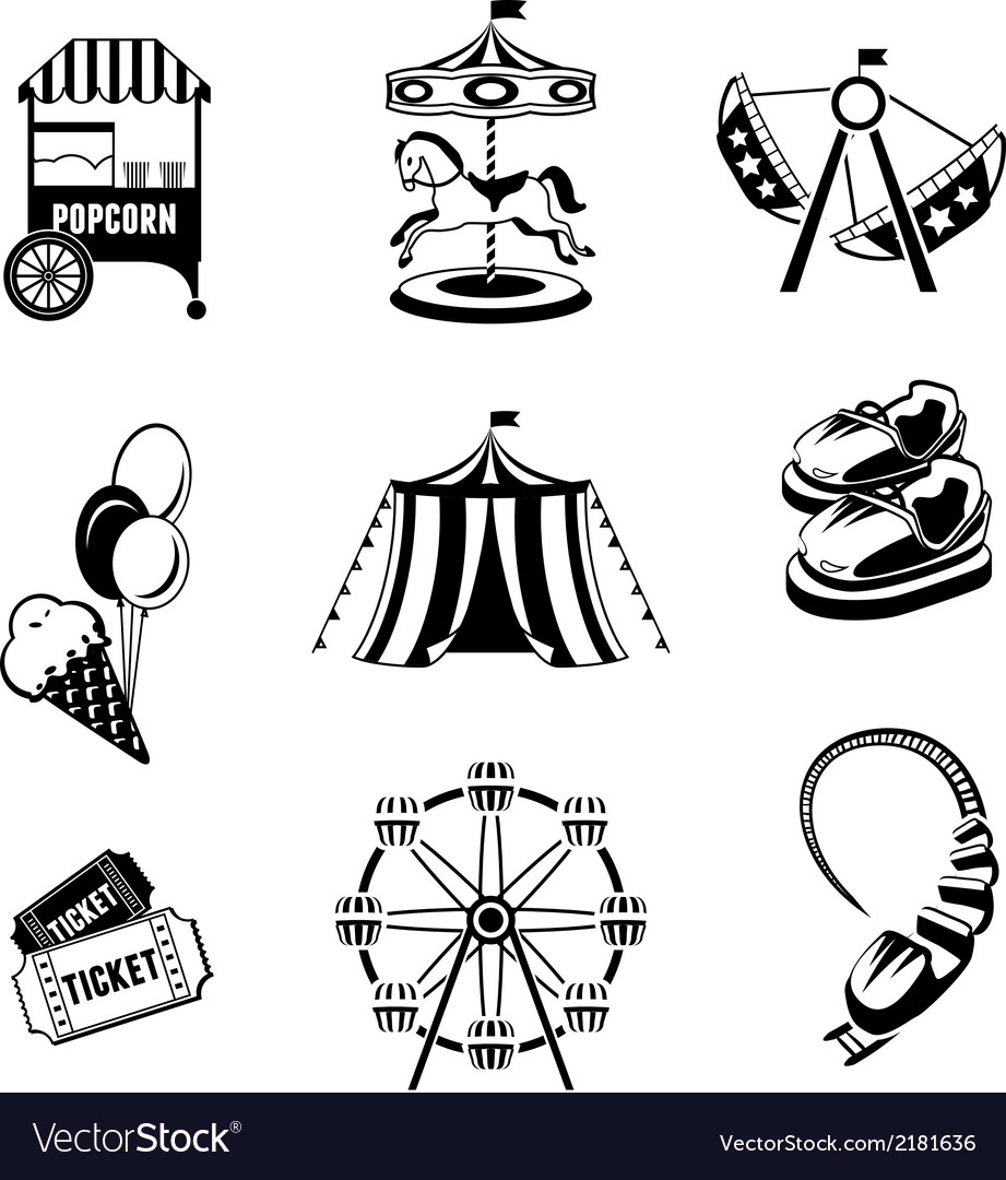 Amusement park elements vector