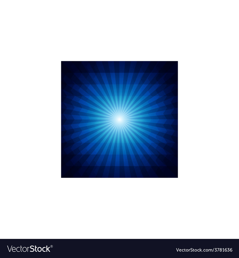 Deep blue dark geometric background with sunburst vector