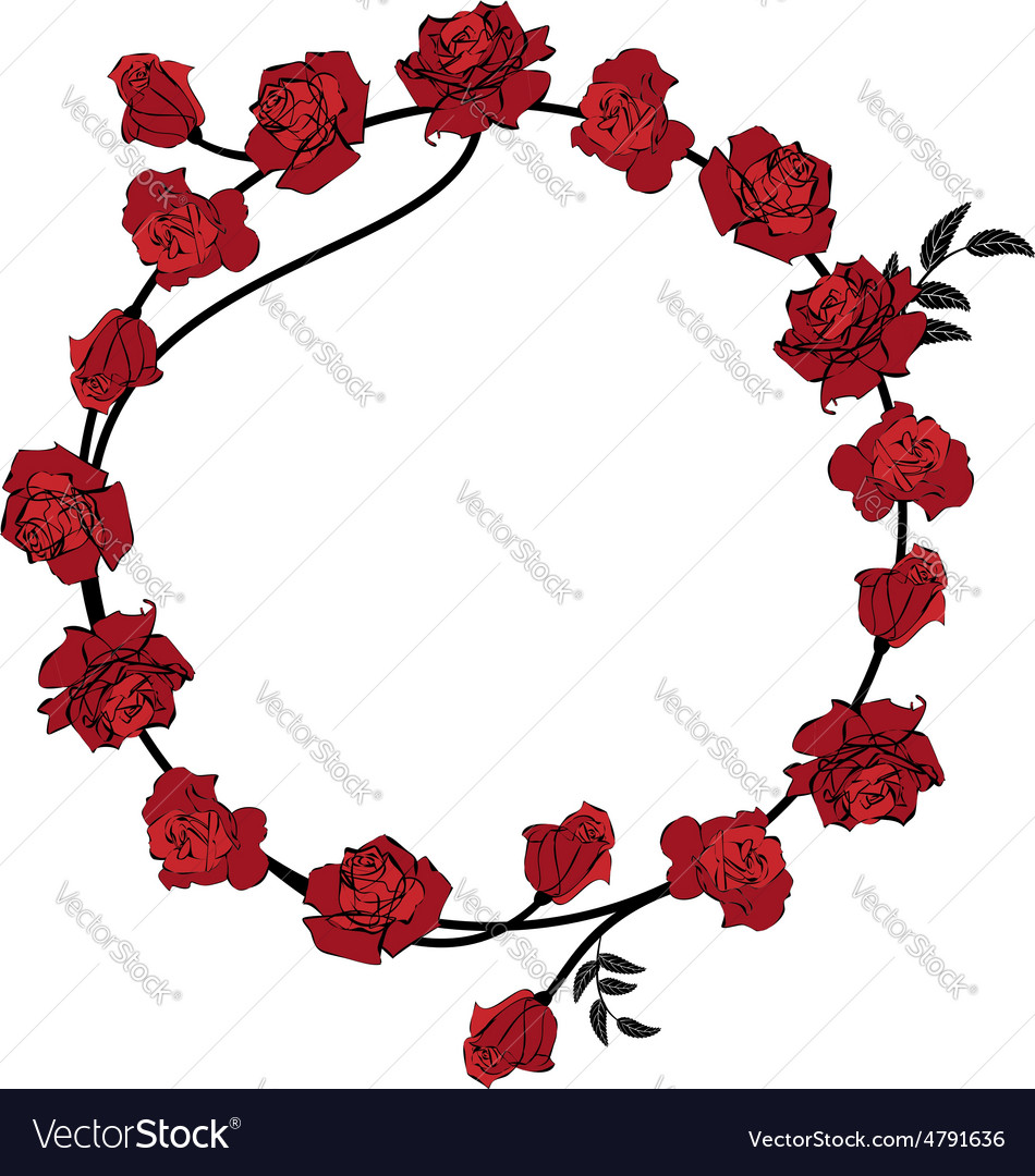 Floral red roses frame vector