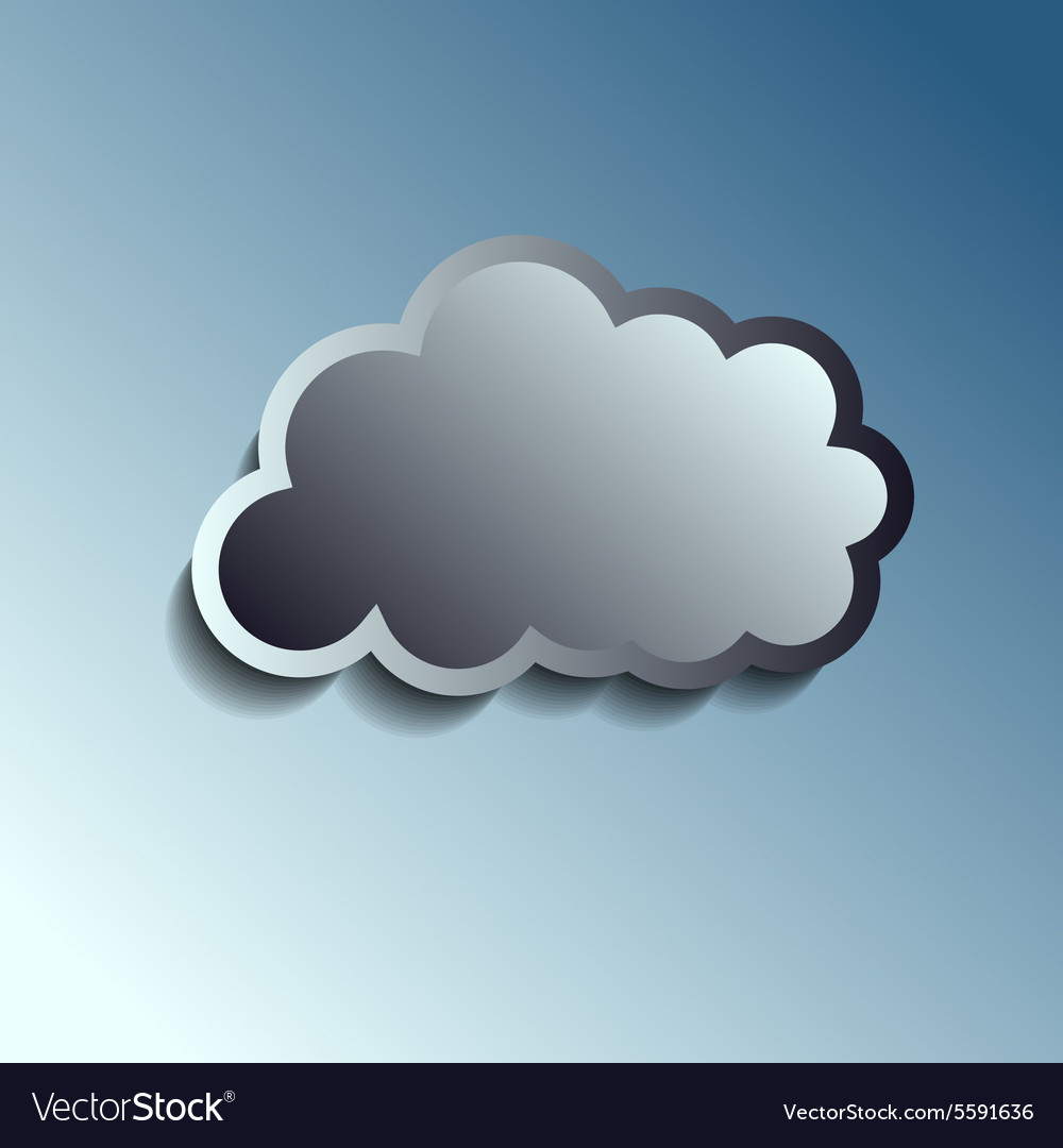 Realistic metal button  cloud icon vector