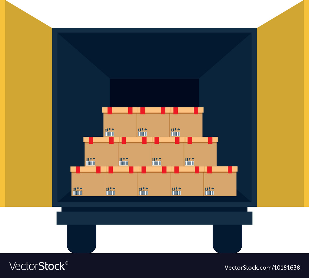 Box package truck delivery shipping icon vector