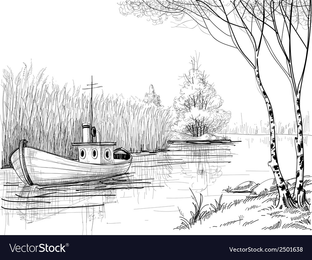 Nature sketch boat on river or delta vector