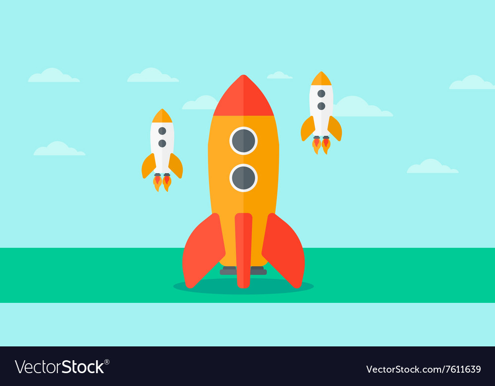 Background of business startup rockets vector