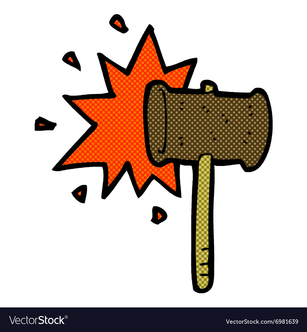 Comic cartoon banging gavel vector