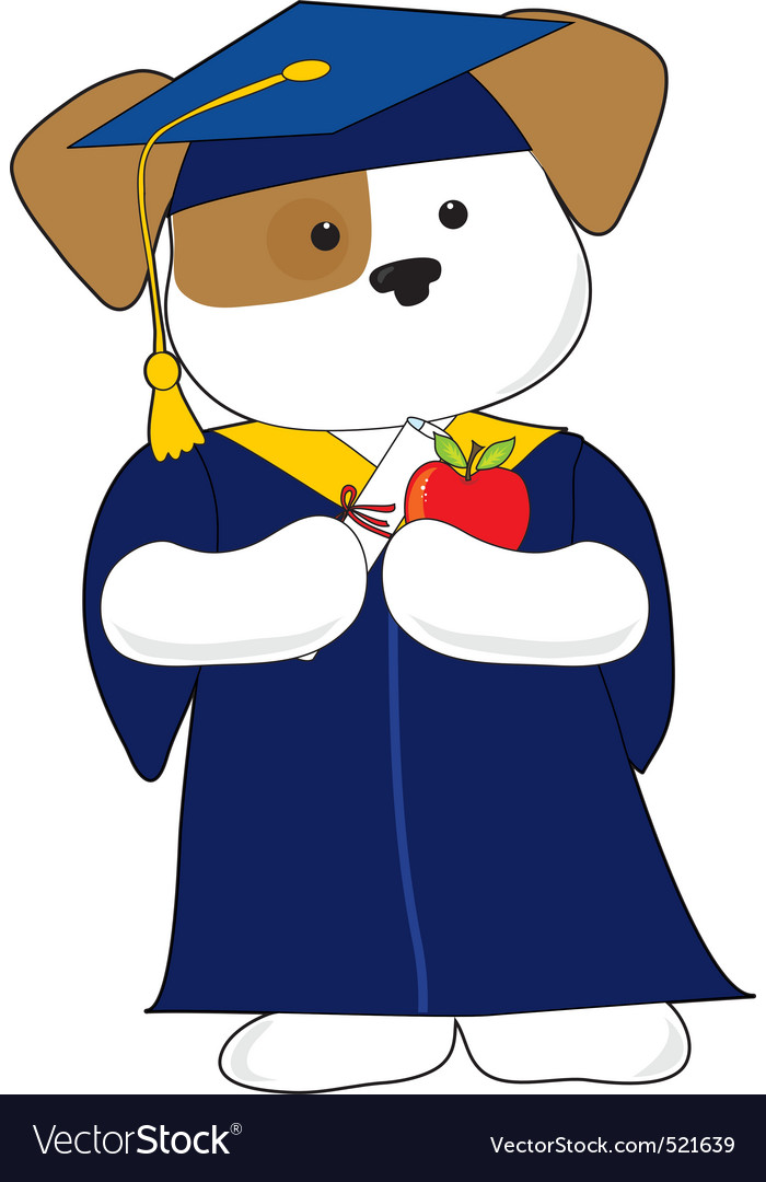 Cute puppy graduation vector