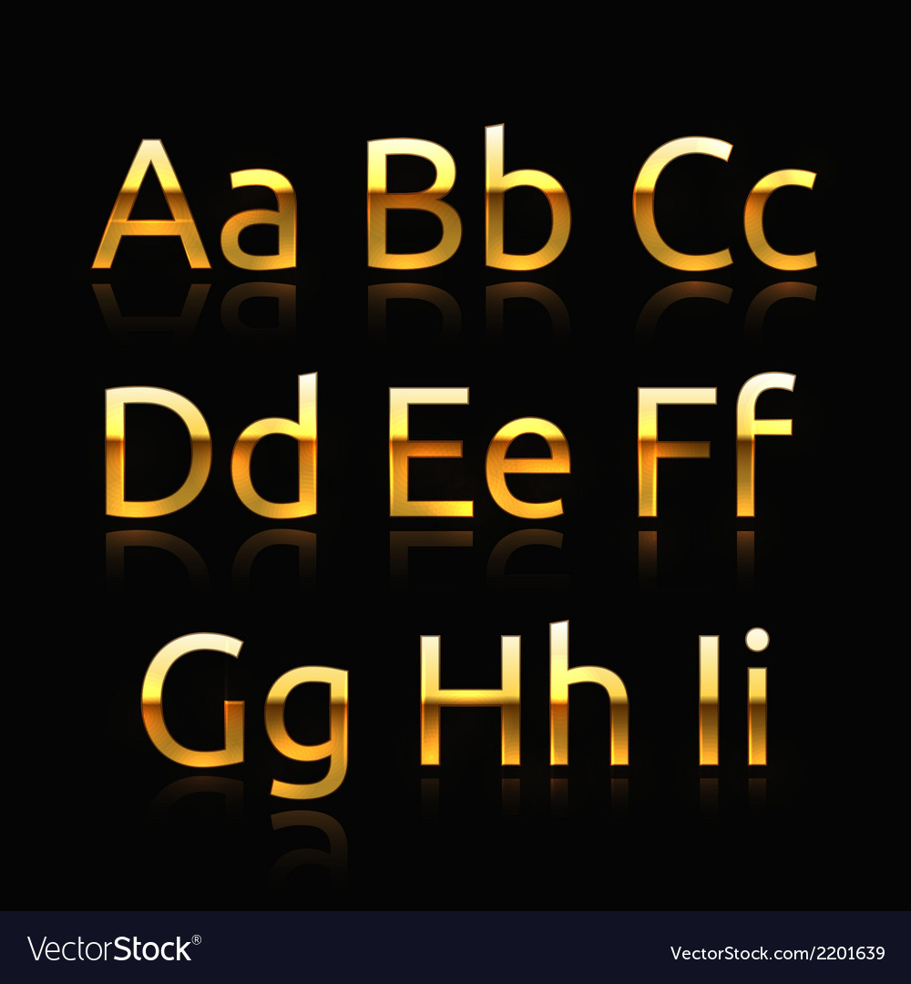 Golden alphabet vector
