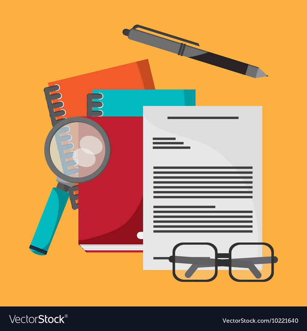 Document pen lupe glasses book notebook icon vector