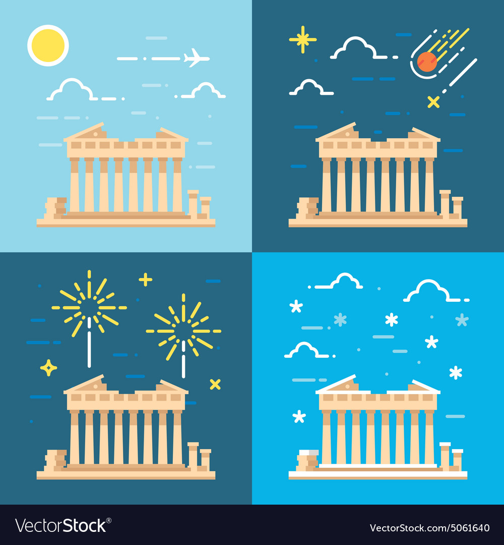 Flat design 4 styles of parthenon athens greece vector
