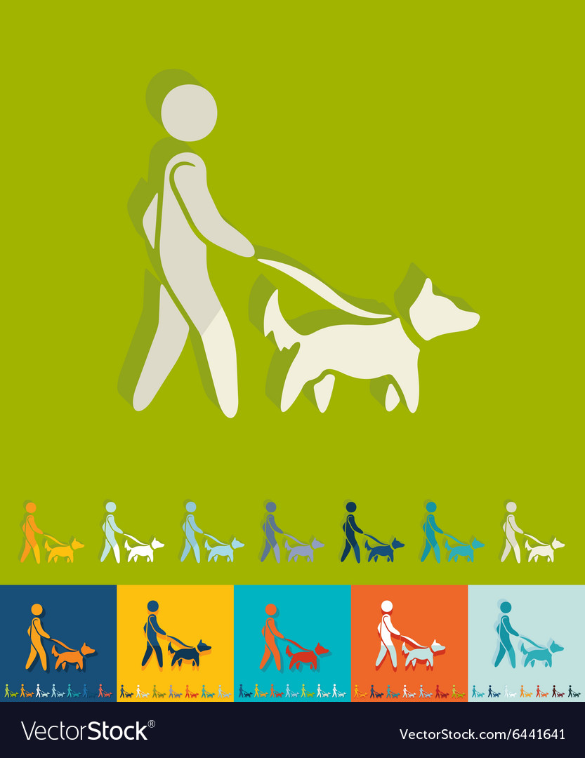 Flat design walking the dog vector