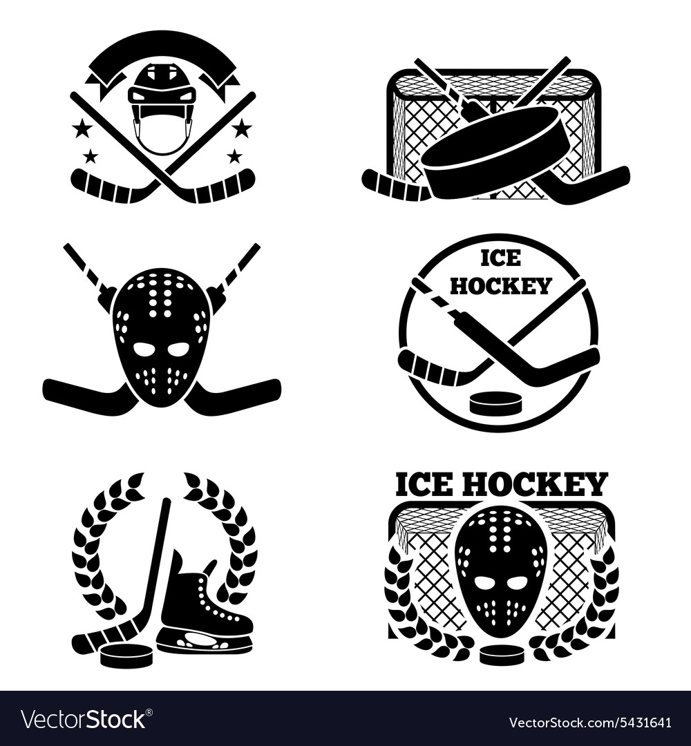 Ice hockey emblem and logo set vector