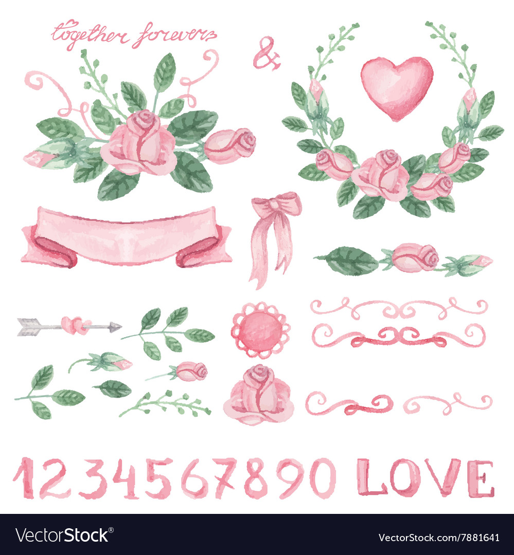 Watercolor pink floral decor set with numbers vector