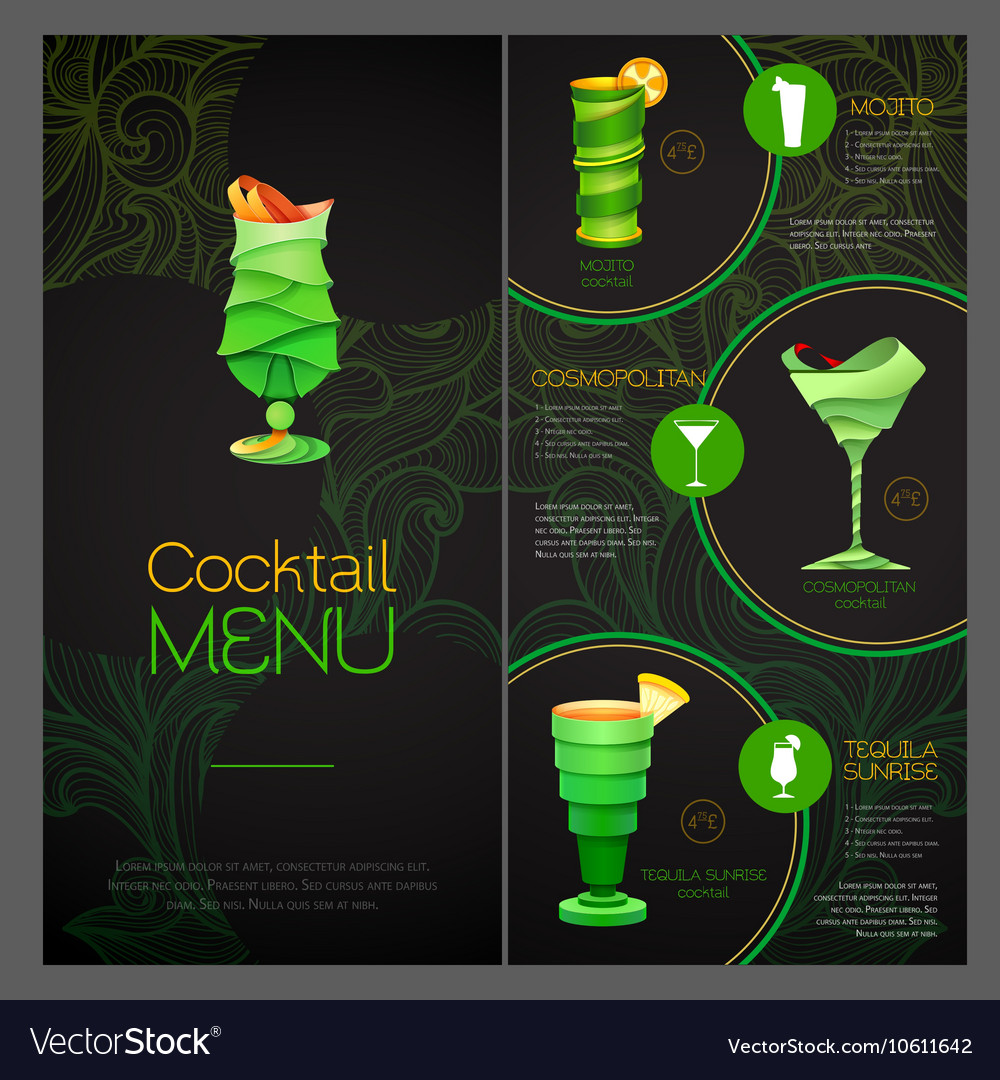 3d cocktail design cocktail menu design vector