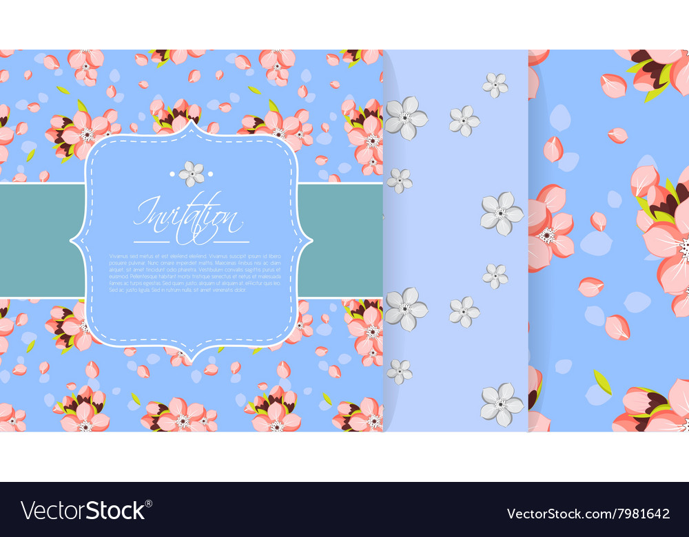 Invitation or greeting card template with pink vector