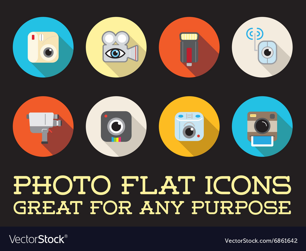Set of photo camera photography elements and video vector