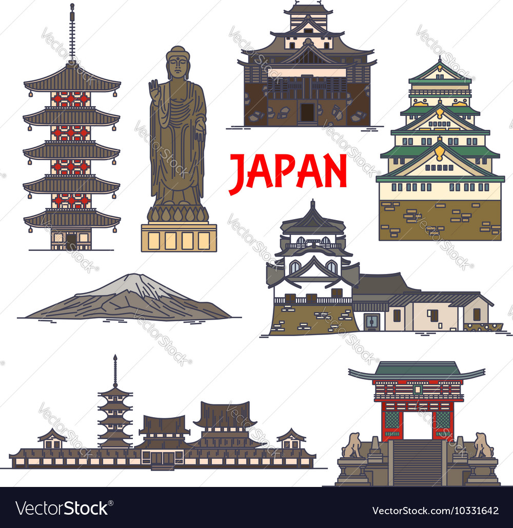 Travel landmarks of japan colorful thin line icon vector