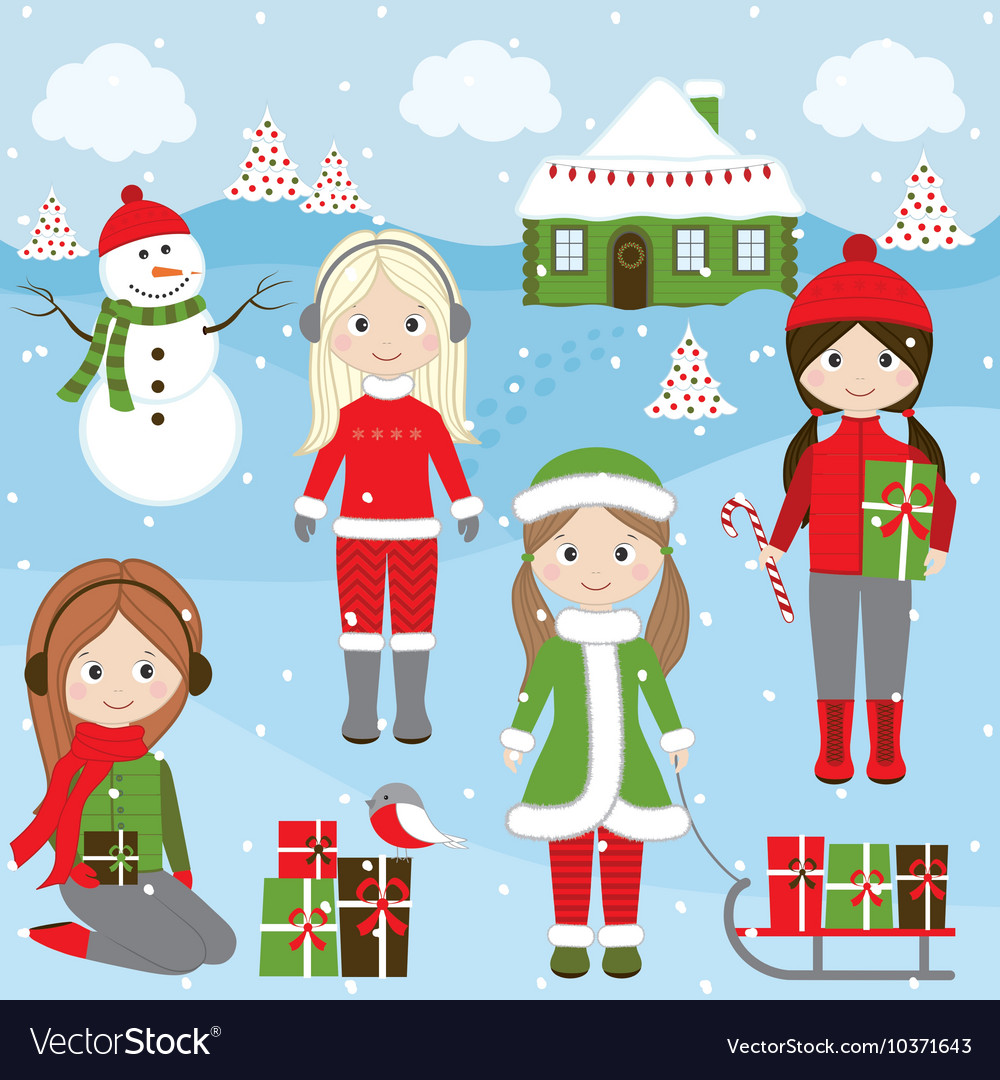 Christmas girls vector