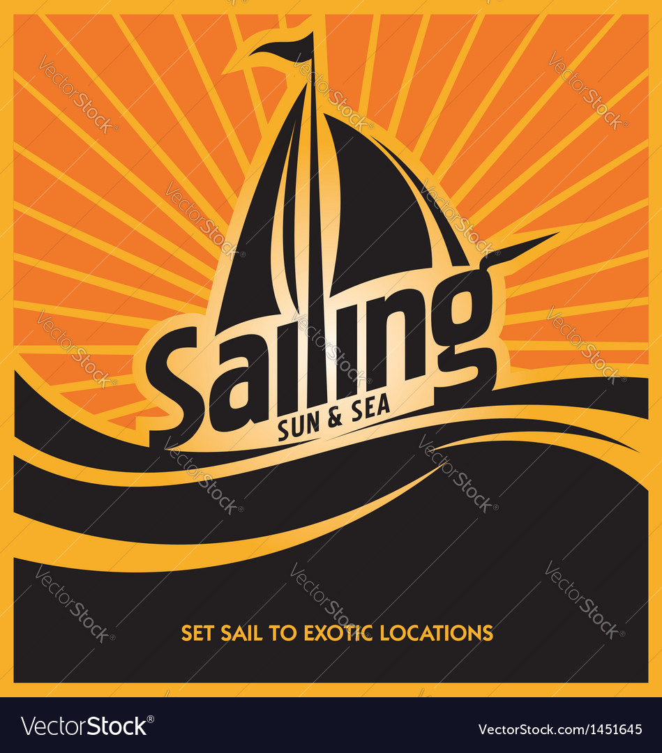 Sailing poster design template vector