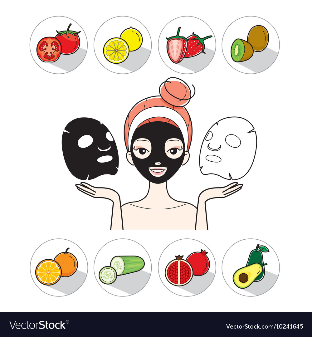 Young woman with facial mask and fruit icons vector