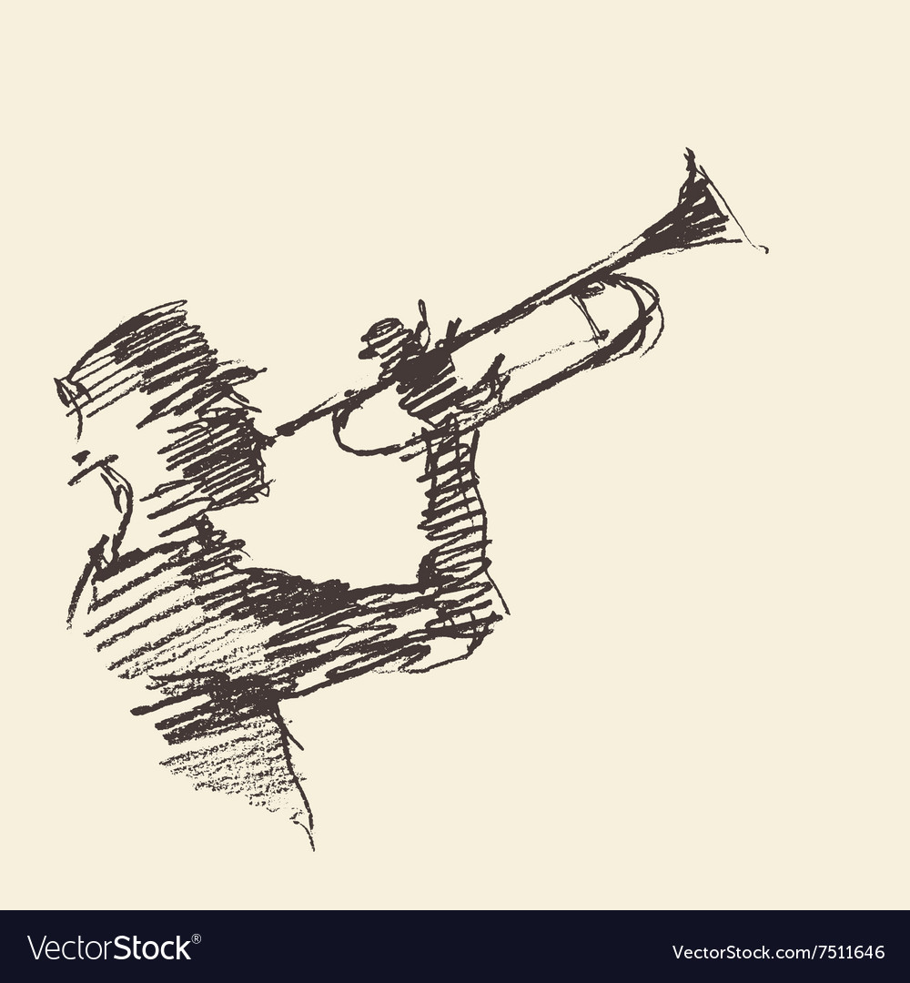 Jazz poster man playing trumpet drawn sketch vector
