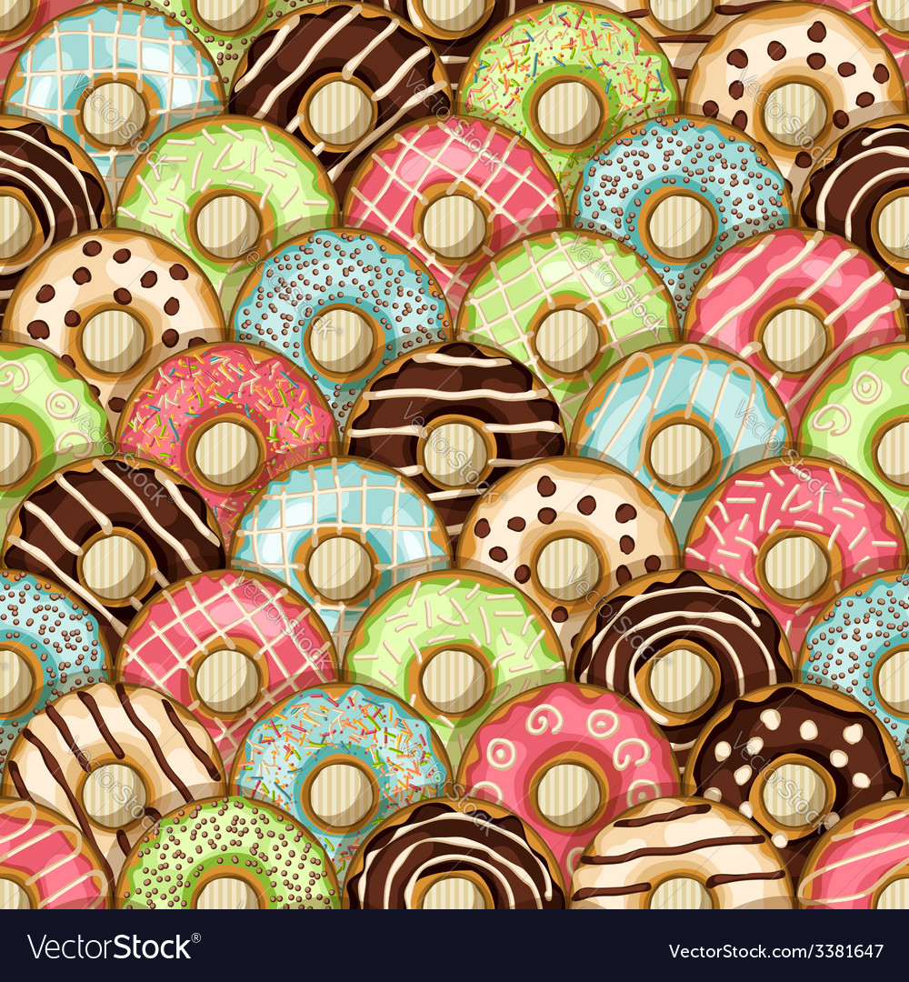 Donuts seamless pattern vector
