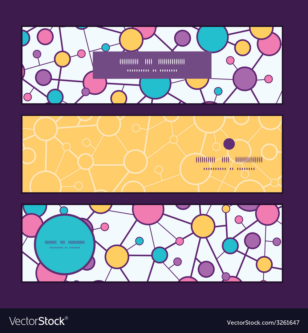 Molecular structure horizontal banners set pattern vector