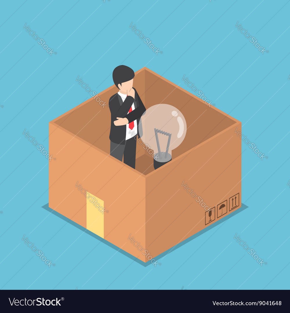 Isometric businessman think inside the box vector