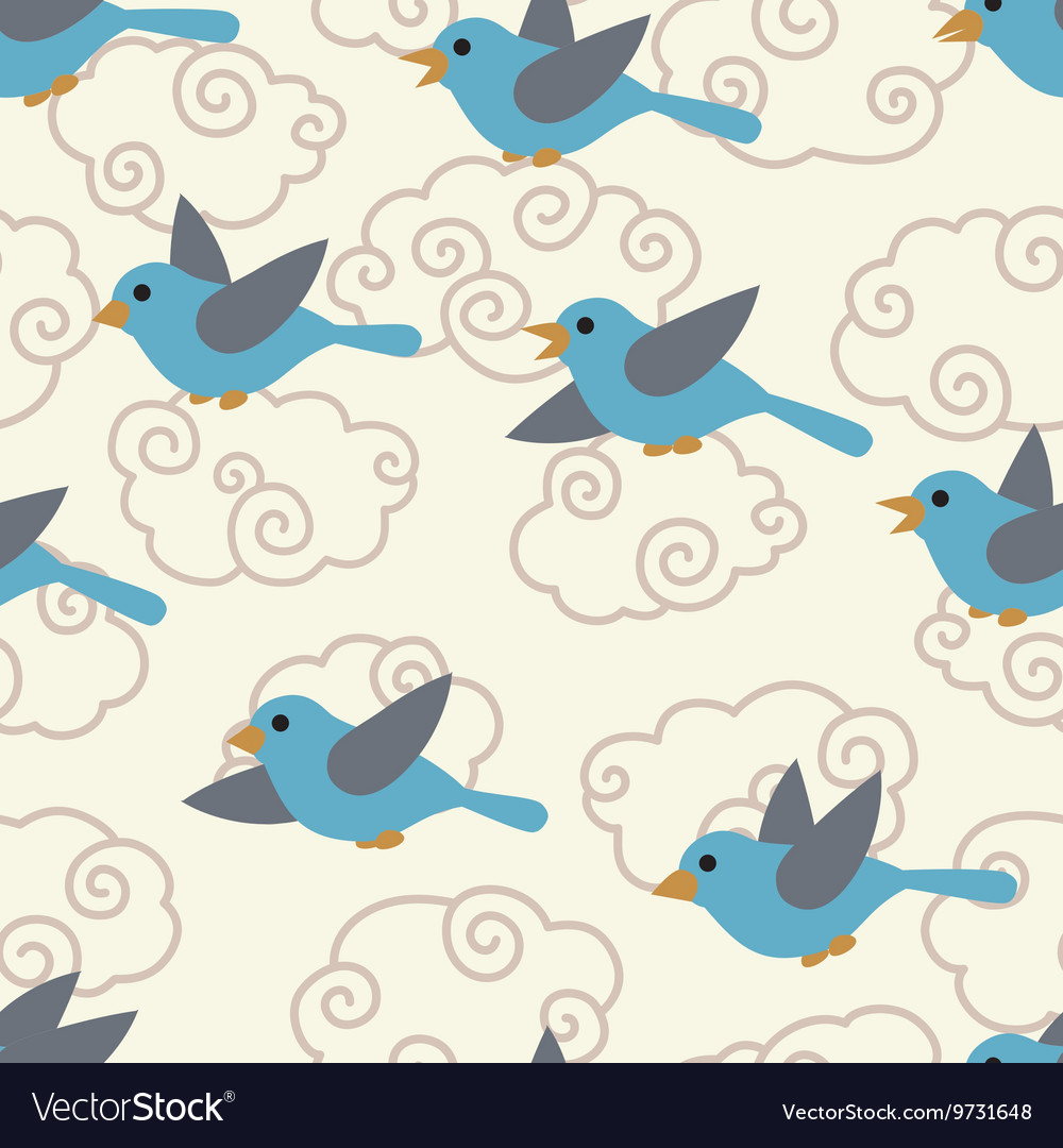 Seamless pattern with cute cartoon birds in the vector