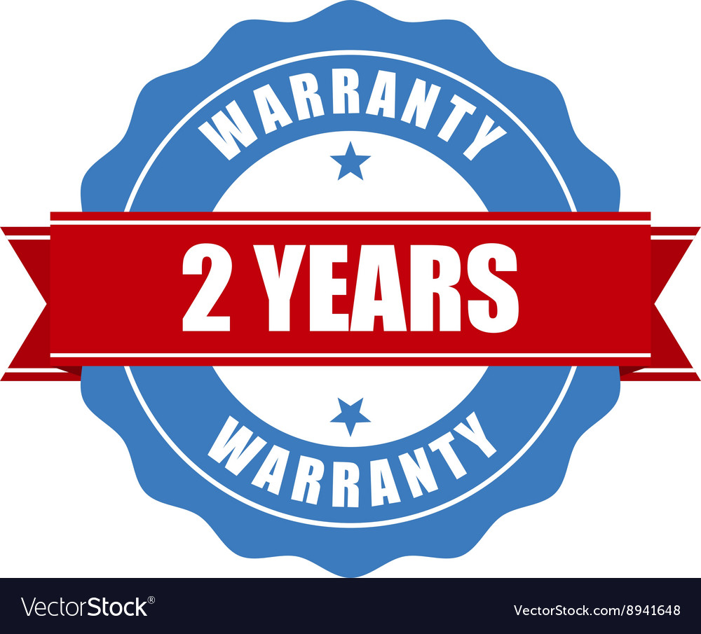 Two years warranty seal  round stamp vector