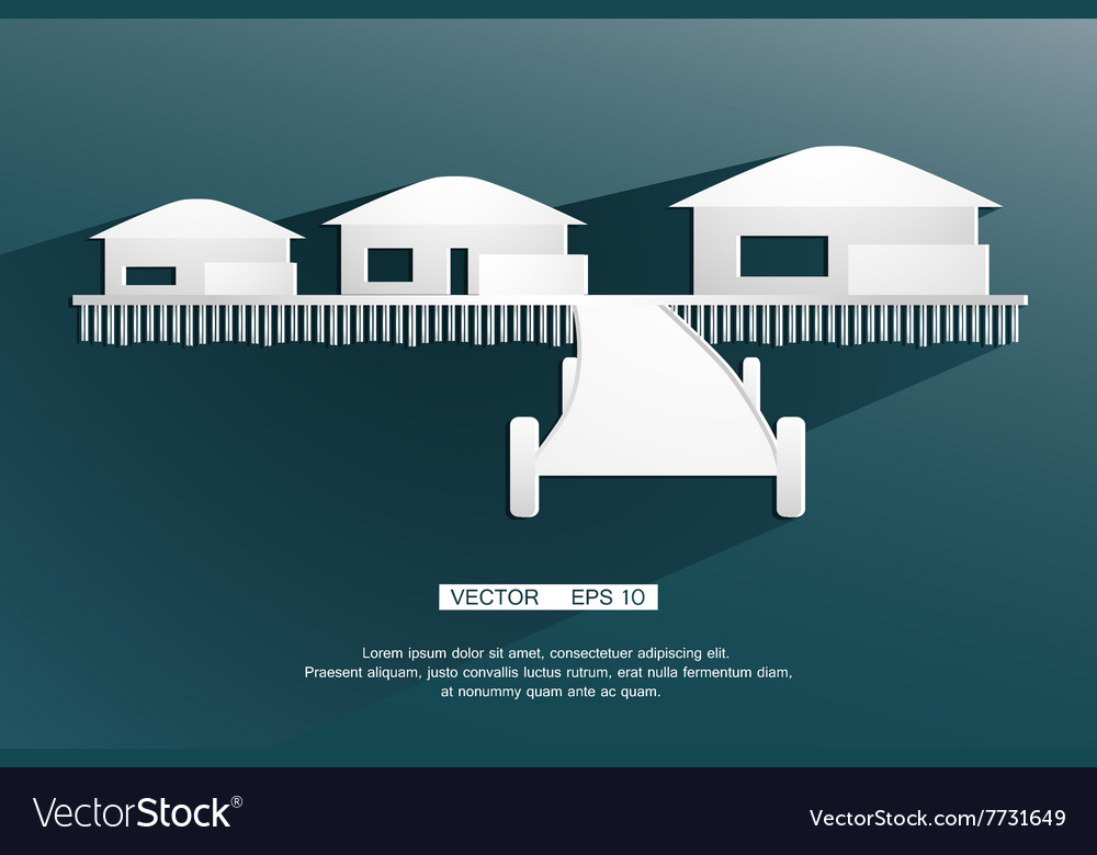 Background sign bungalow flat design vector