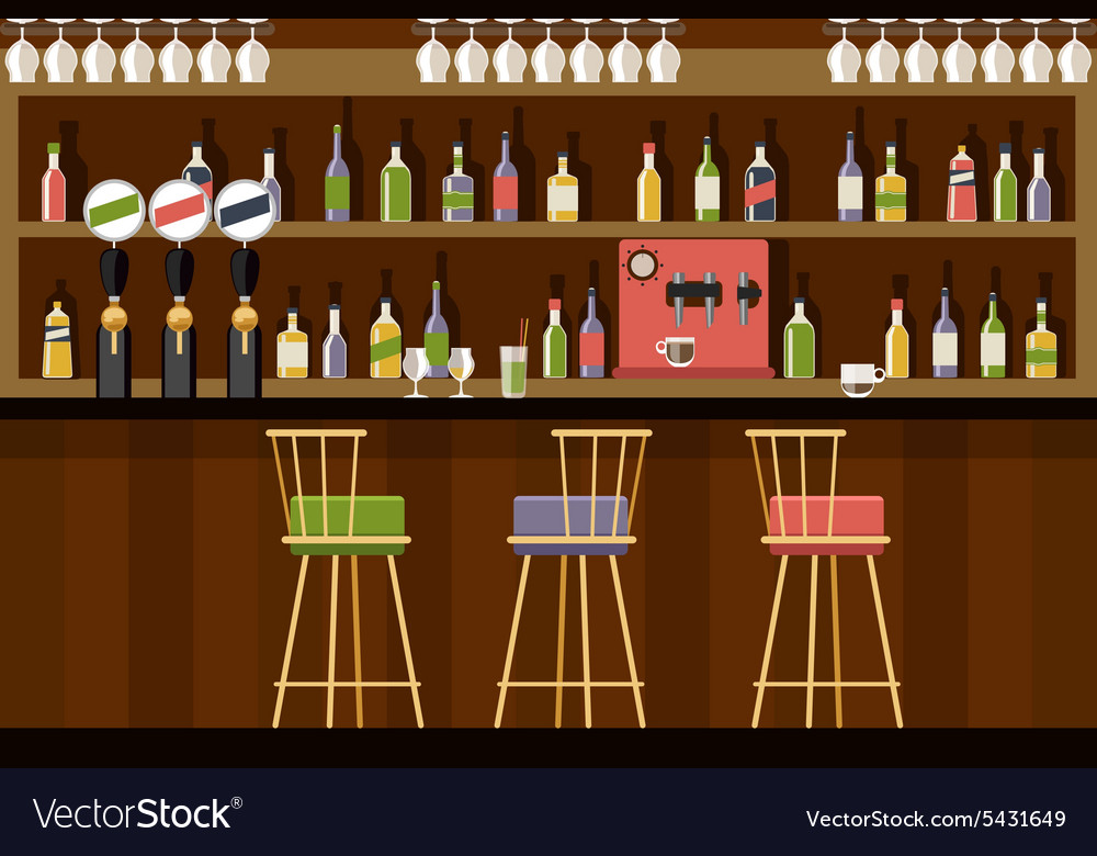 Bar interior in flat style design vector