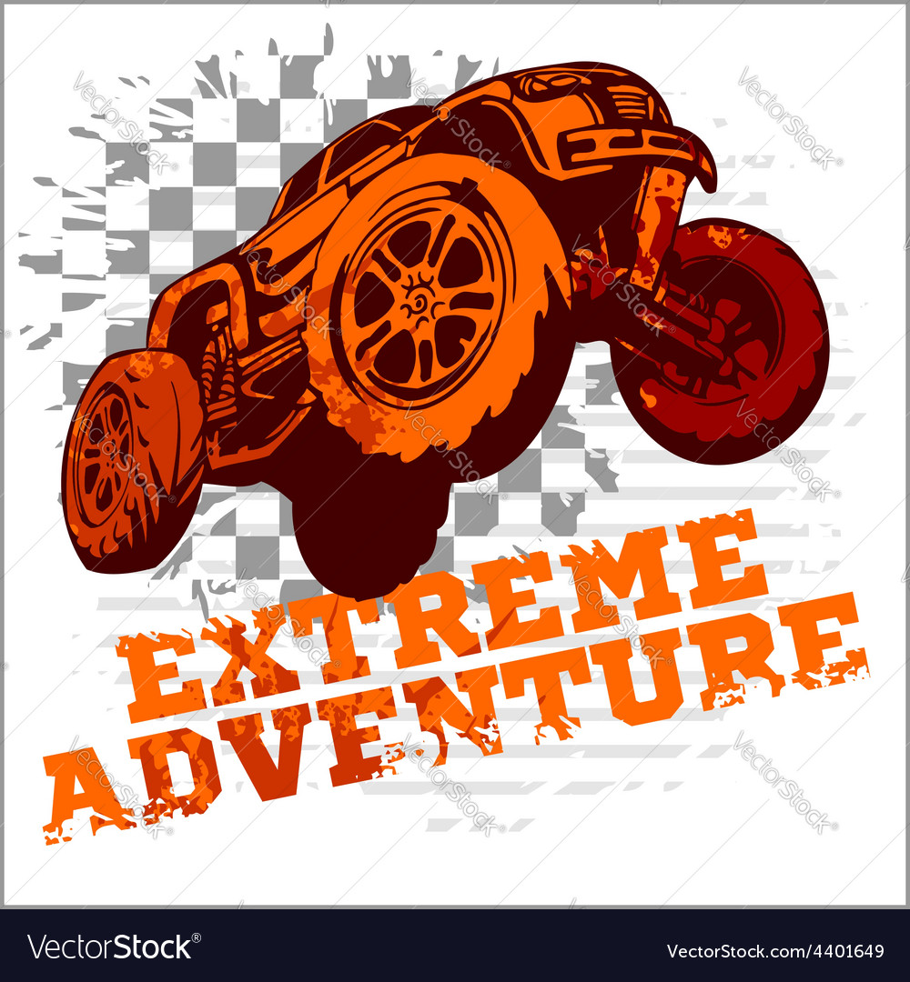 Emblem with offroad cars vector