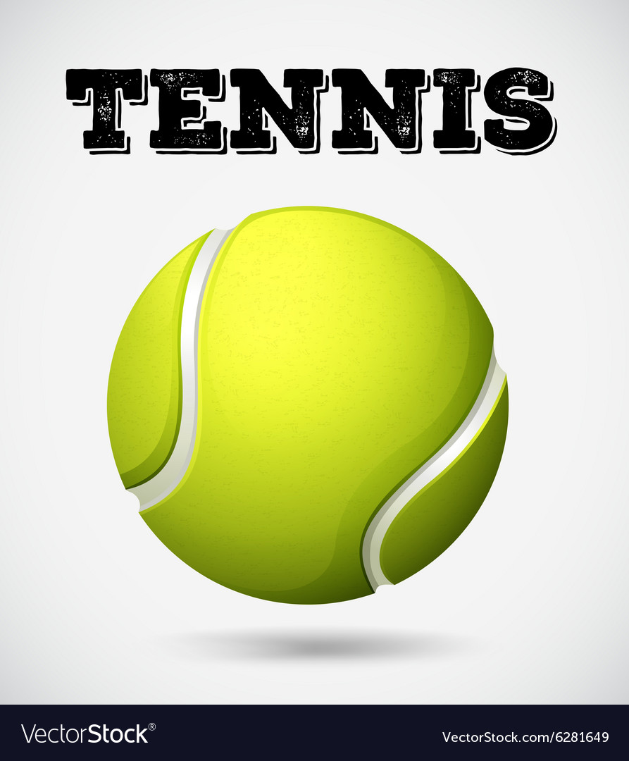 Single tennis ball with text vector