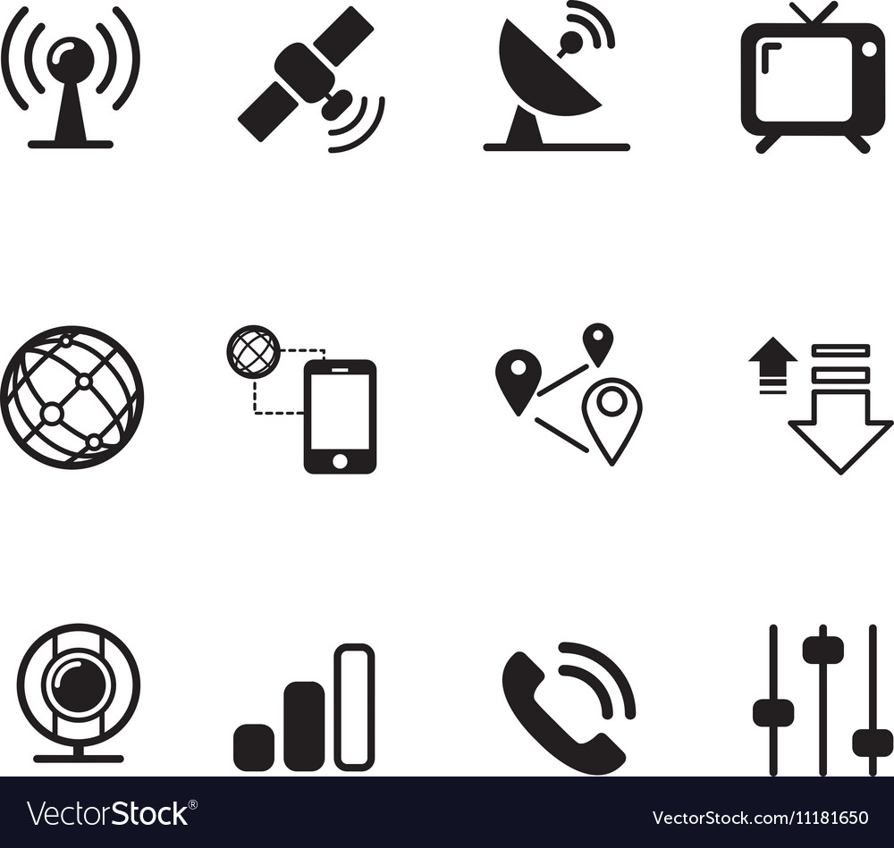 Satellite communication technology silhouette icon vector
