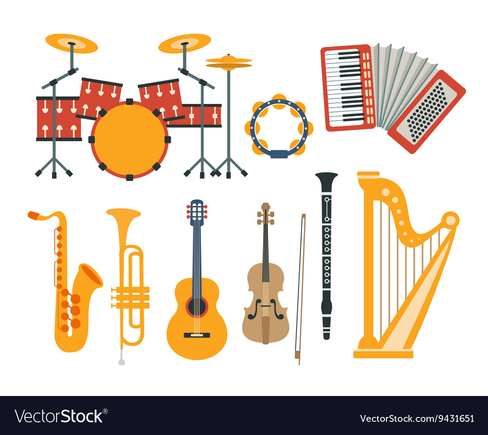 Music instruments realistic drawings collection vector