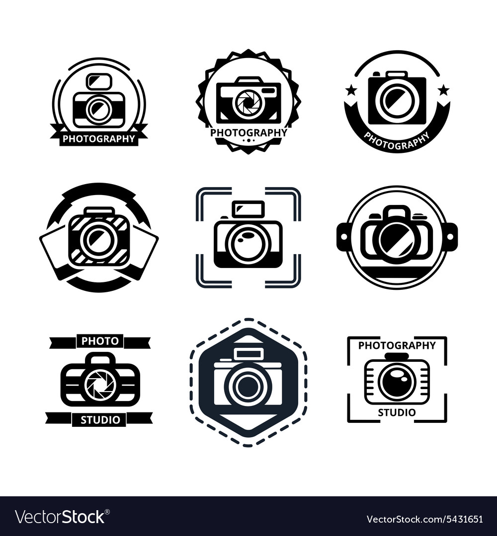 Vintage photography badges or logos vector