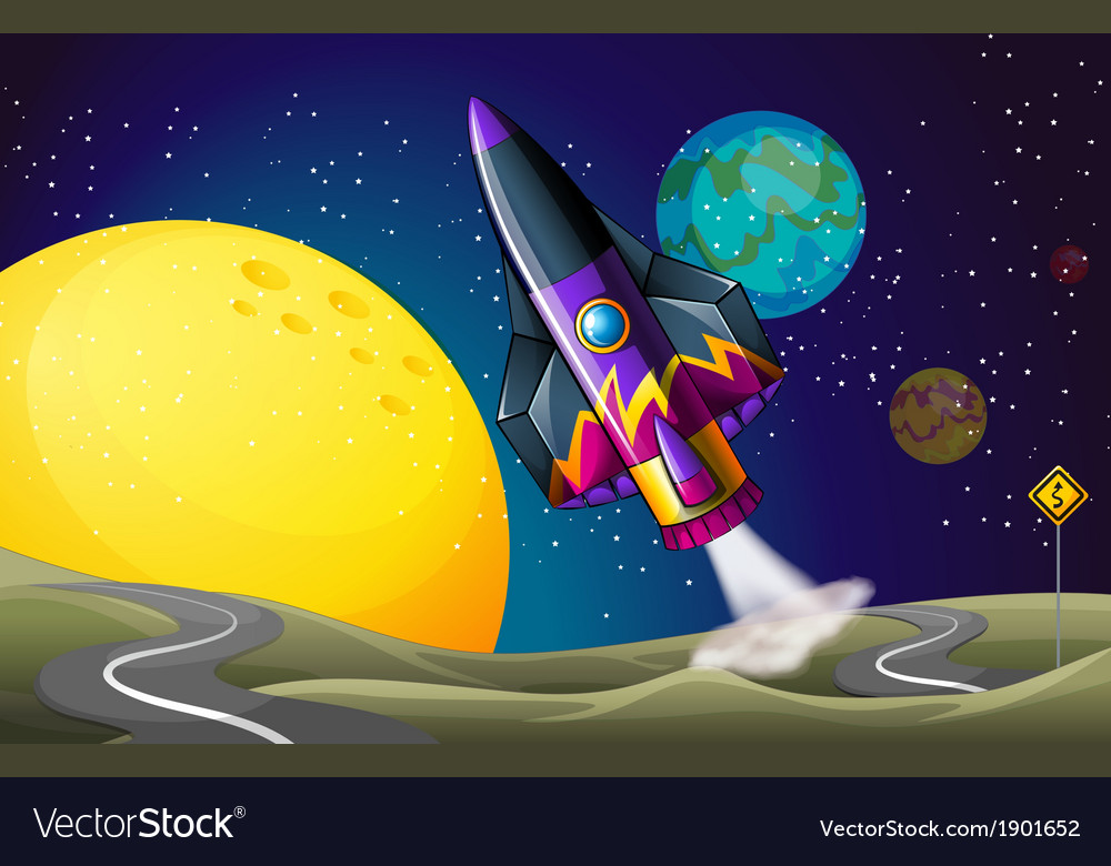 A colorful aircraft near the moon vector