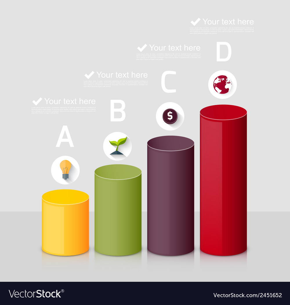 Background with 3d graph vector