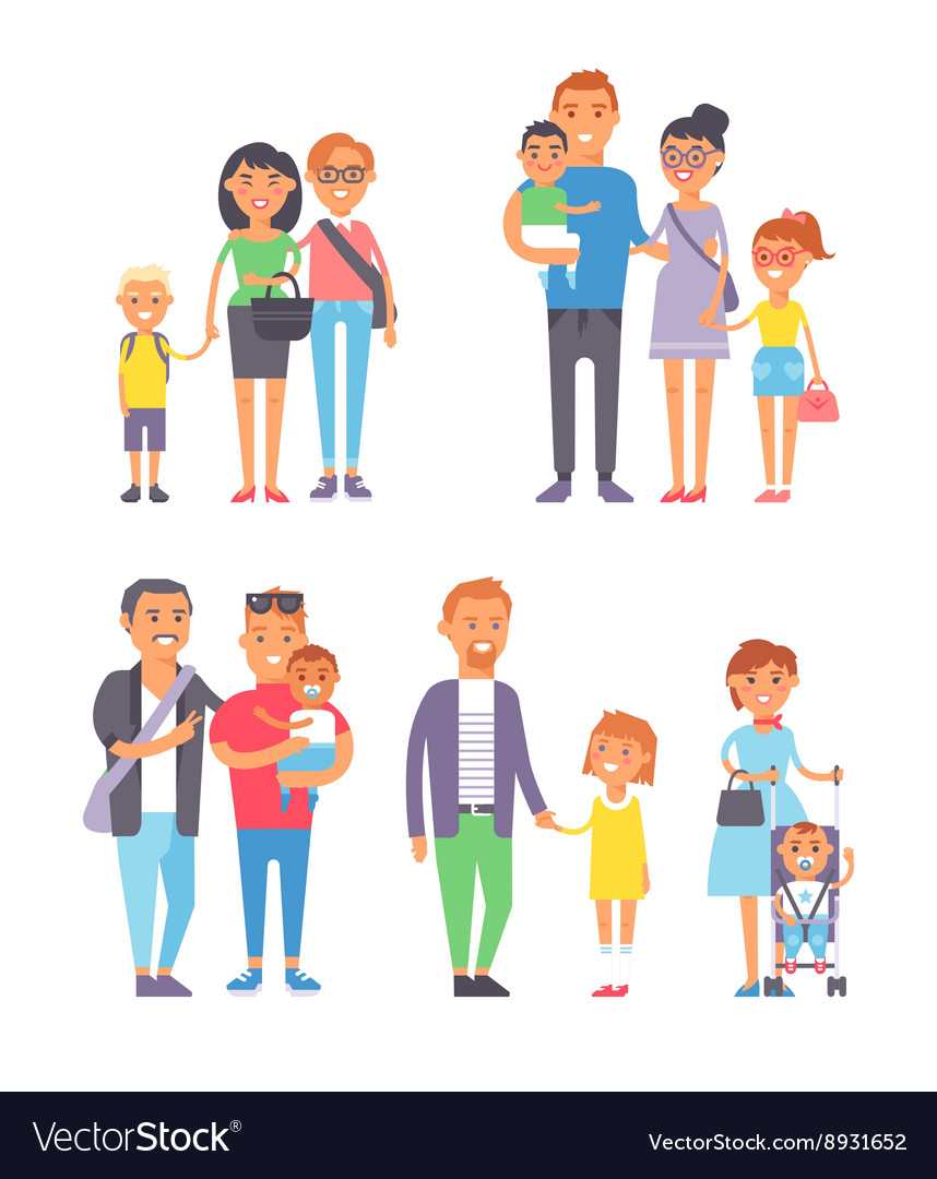 Family people set vector