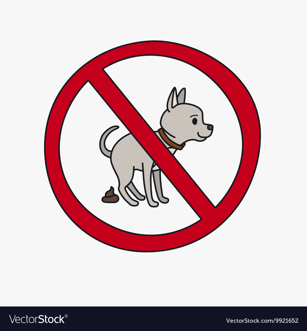 No dog pooping sign vector