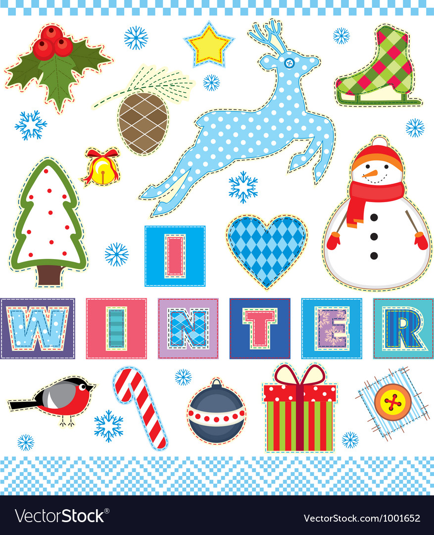 Winter set textile element vector