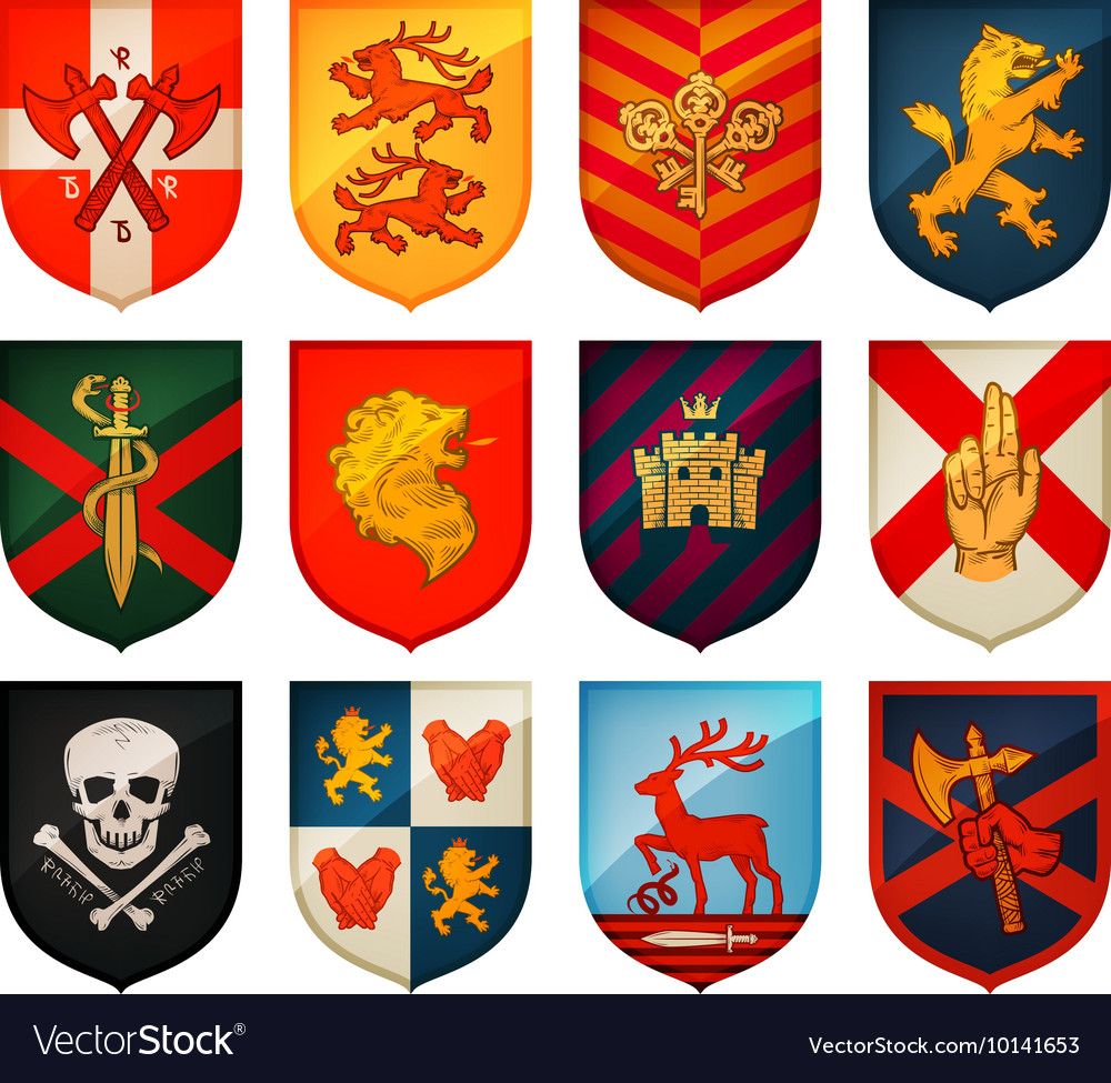 Collection of medieval shields and coat arms vector