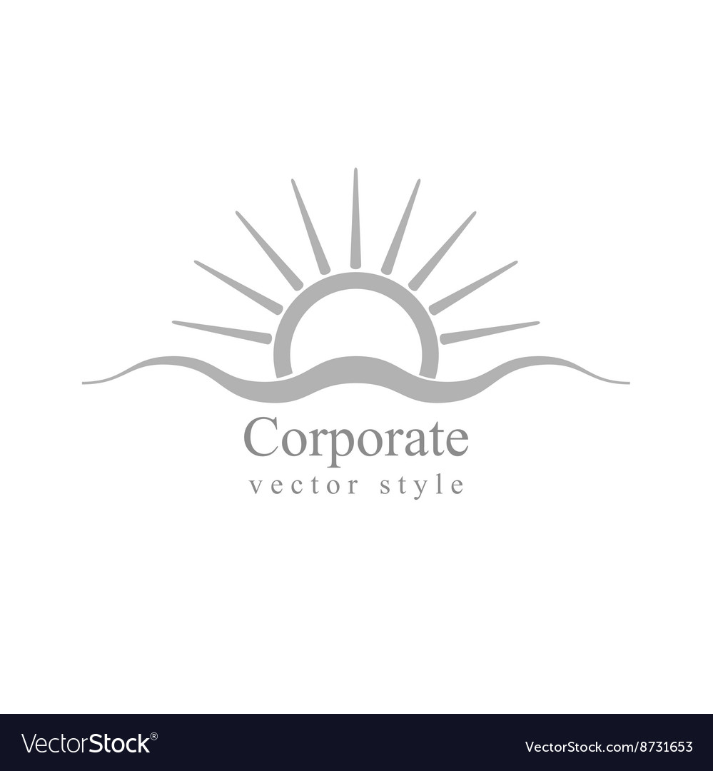 Grey schematic logo sun and sea wave vector