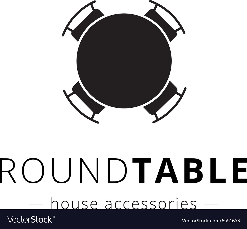Minimalistic black round table with chairs vector
